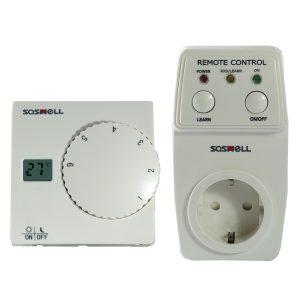 Ασύρματος Επιτοίχιος Θερμοστάτης Saswell SAS816 με Διακόπτη Πρίζας